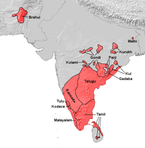 Map of the Dravidian languages
